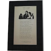 """John Updike poetry broadside """"Sunday in Boston"""" signed limited (#77/300) edition also signed by illustrator"""