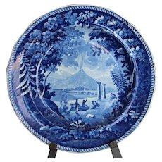 Antique Staffordshire Vesuvius Plate