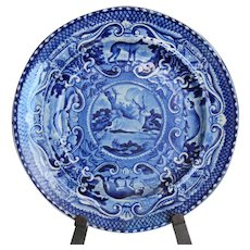 Antique dark blue Staffordshire Quadrupeds plate