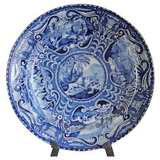 Quadrupeds Antique Dark Blue Staffordshire Dinner Plate with Lion
