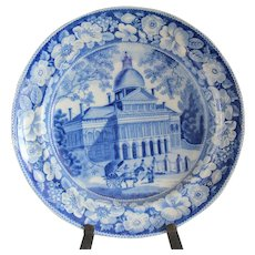 Historical Medium Blue Staffordshire Plate Boston State House