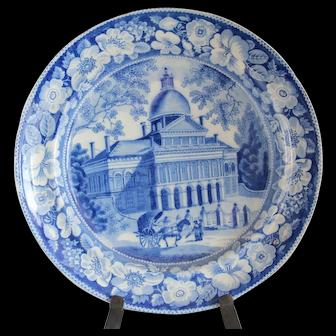 Historical Medium Blue Staffordshire Plate Boston State House