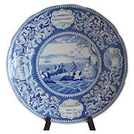 "Historical Medium Blue Staffordshire Plate ""America Independent"""