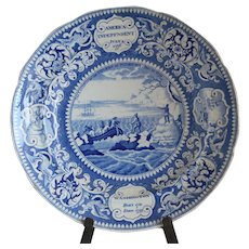 "Historical Medium Blue Staffordshire Plate ""America Independent"""
