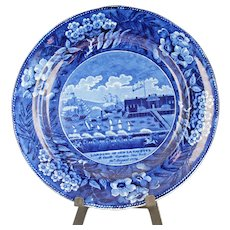 "Rare Antique Historical Dark Blue Plate ""Landing of Gen Lafayette"""