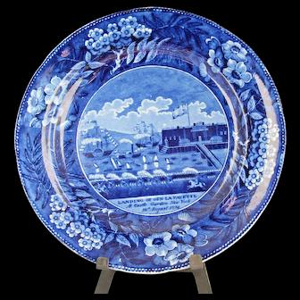 "Rare Antique Historical Dark Blue Plate ""Landing of Gen Lafayette"""