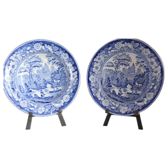 Pair of Antique Staffordshire Soup Plates