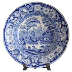 Antique Blue Staffordshire Soup Plate