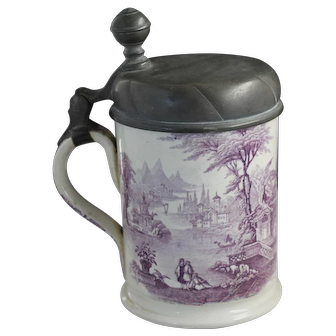 Antique Lavender Transfer Tankard with Hallmarked Pewter Top