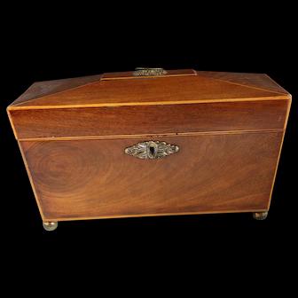 19th c. Mahogany Tea Caddy