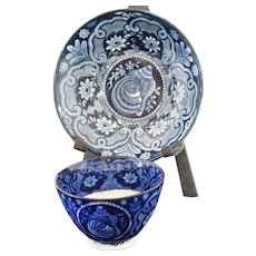 Antique Dark Blue Staffordshire Tea Cup & Saucer
