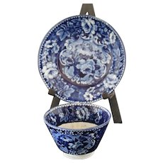 Antique Dark Blue Staffordshire Tea Cup & Deep Saucer