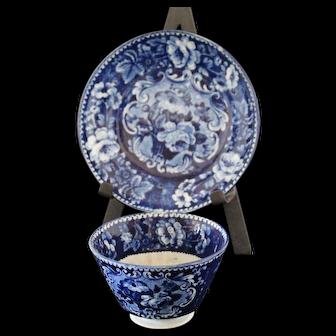 Antique Dark Blue Staffordshire Tea Cup & Deep Saucer