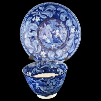 Antique Staffordshire Dark Blue Tea Cup and Deep Saucer