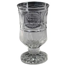 Antique German 1840 Engraved Commemorative Glass