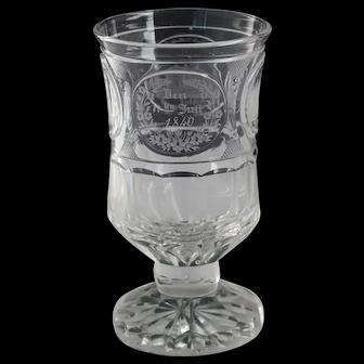 Antique German 1840 Engraved Commemorative Glass