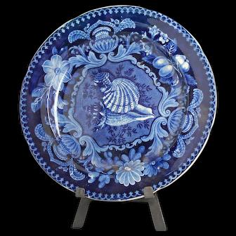 Outstanding Stubbs & Kent Dark Blue Shell Staffordshire Dinner Plate