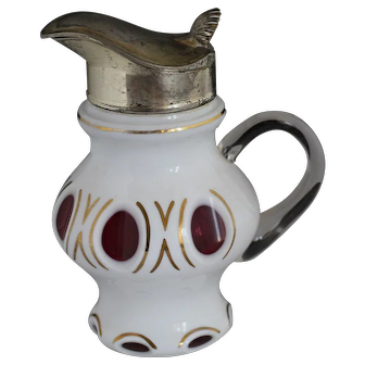 Antique Glass and Silver Syrup Pitcher