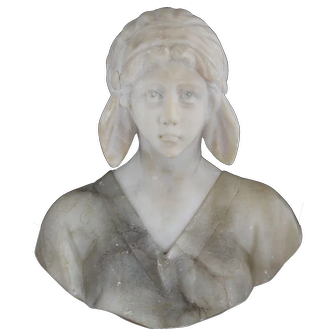 Carved Marble Bust of Young Girl