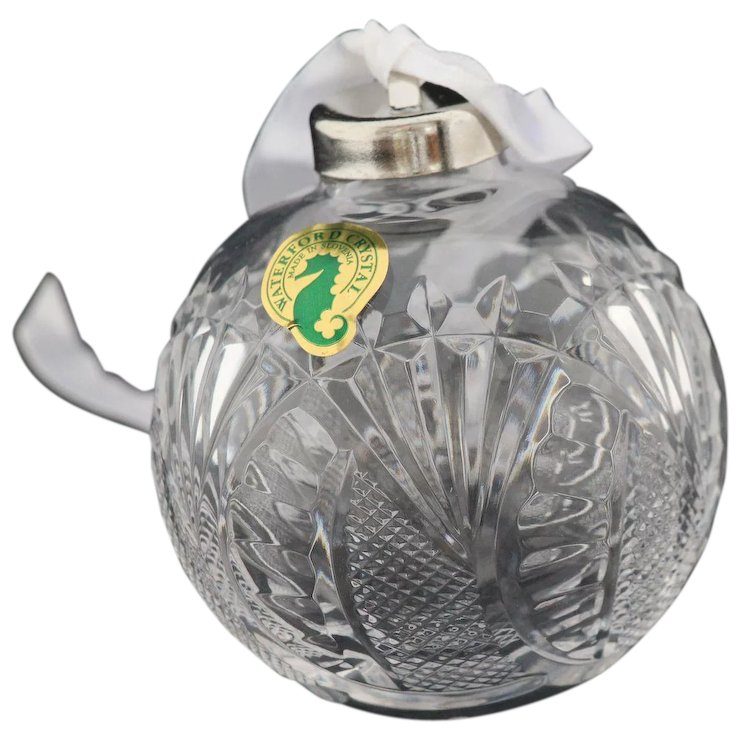 Waterford Crystal Seahorse Ball Ornament And Happy Holidays Tree