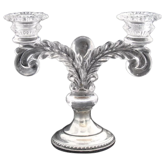 Pair of Vintage Glass Candelabra With Weighted Sterling Bases
