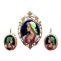 Sold - Sumptuous  Suite of Precious Jewels by Limoges in (14K) Gold & Hand Painted Enamel Including Brooch & Matching Earrings