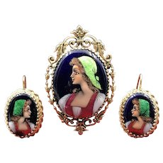Sumptuous  Suite of Precious Jewels by Limoges in (14K) Gold & Hand Painted Enamel Including Brooch & Matching Earrings