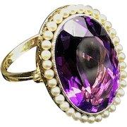 Victorian c.1890 Antique Siberian Amethyst & Pearls 14k Gold Ring Custom