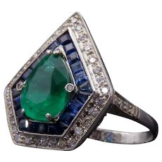Art Deco Emerald, Diamond, Sapphire Cocktail Ring in Platinum