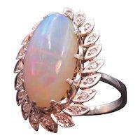 Huge Opal, Diamond, & 14k White Gold Cocktail Ring