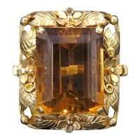 Striking 14k Gold Whiskey Citrine Large Ring