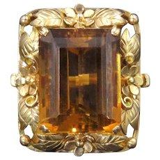 Striking 14k Gold Whiskey Citrine Large Ring