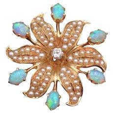 Opal, Diamond, Pearl, & 14k Gold Pendant/Brooch