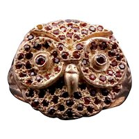 14 Karat Rose Gold, 9 Karat Rose Gold & Garnet Owl Conversion Ring