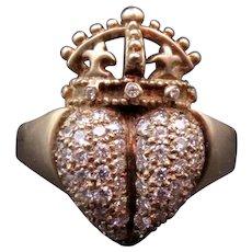 18K Gold Diamond Encrusted Kieselstein Cord Heart Ring