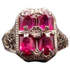 Art Deco 14K White Gold & Ruby Filigree Ring