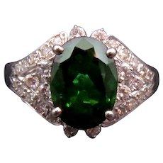 14K Gold Tourmaline & Diamond Ring