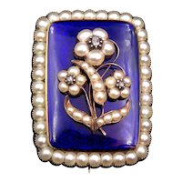 12K Gold Victorian Enamel, Pearl, Diamond Mourning Brooch