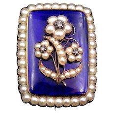 12K Gold Victorian Enamel, Pearl, Diamond Mourning Brooch