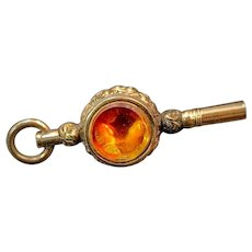 9K Antique Citrine & Bloodstone Fob/Watch Key
