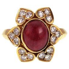 18K Gold Ruby Cabochon & Diamond Estate Ring