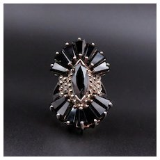 Silver, French Jet (Black Glass) & Marcasite Deco Style Vintage Cocktail Ring