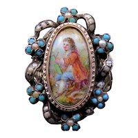 French Napolean III Hand Painted Porcelain Conversion Ring