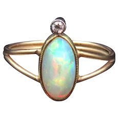 Opal and Diamond 14K Gold Conversion Ring