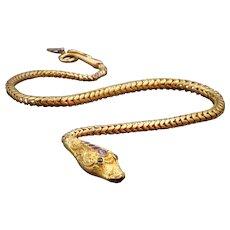 Pinchbeck Garnet & Green Paste Snake Necklace Circa 1830's