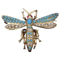 Mid-Century Victorian Revival 14k Gold, Pearl & Turquoise Dragonfly Brooch