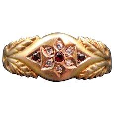 15K Gold, Diamond & Garnet Ring dated 1878 with Hallmarks