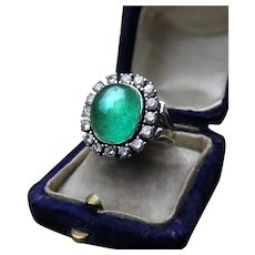 Cabochon Natural Emerald and Diamond 18k Gold Ring with GIA and GAL Reports