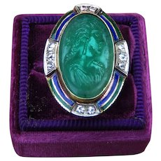 Portrait Cameo Emerald Vintage Ring with Diamonds and Enamel in 14k Gold with GAL Report