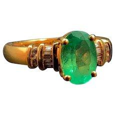 18k Emerald and Diamond Estate Ring